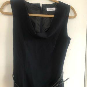 Black Calvin Klein Scoop Neck Work Dress w/ Belt